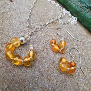 Pendant hänge till halsband i bärnsten /silver