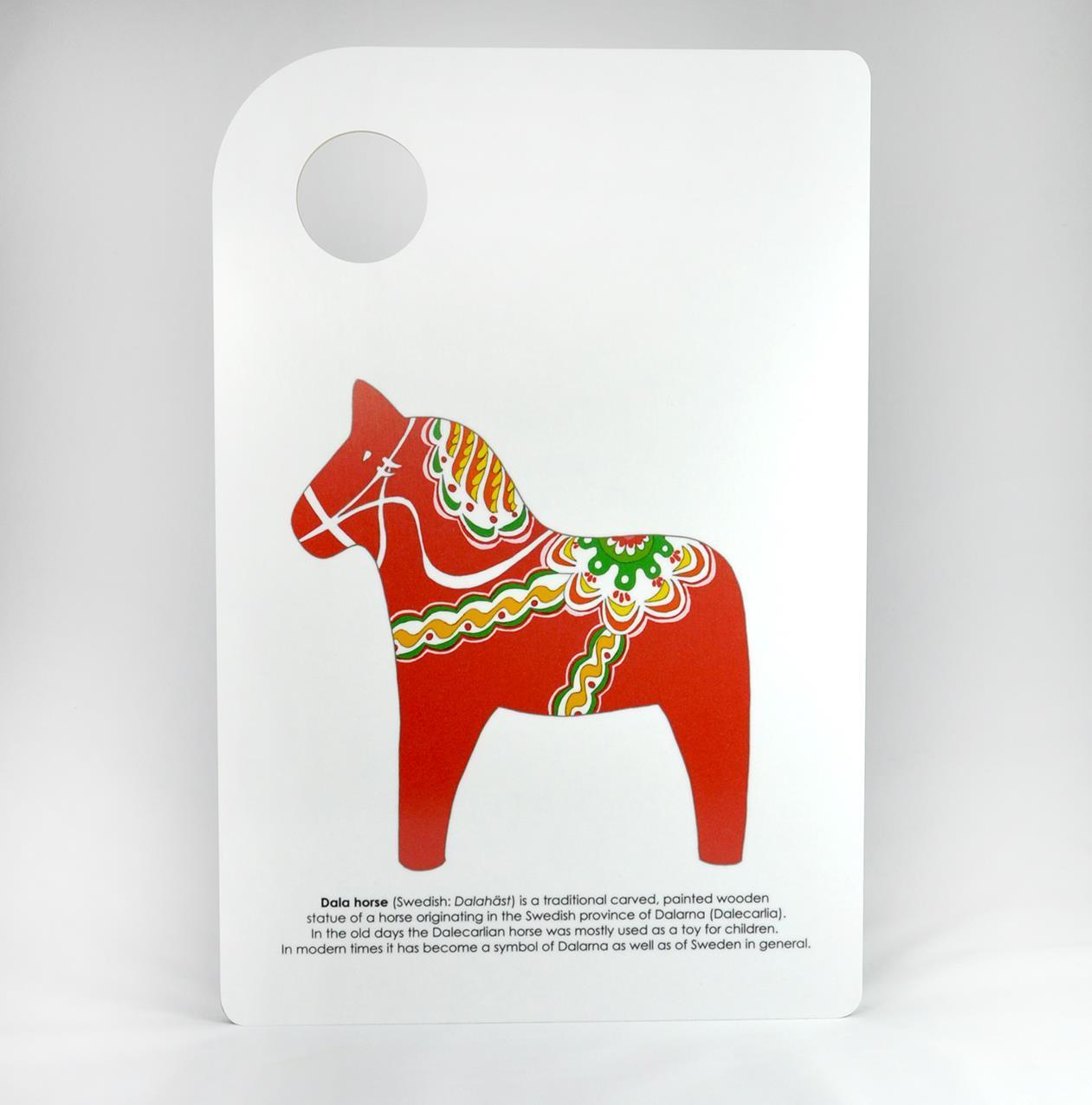 Skärbräda, Dala horse, vit/rött tryck