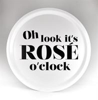 Bricka rund 31 cm, Rose o clock, vit/svart text