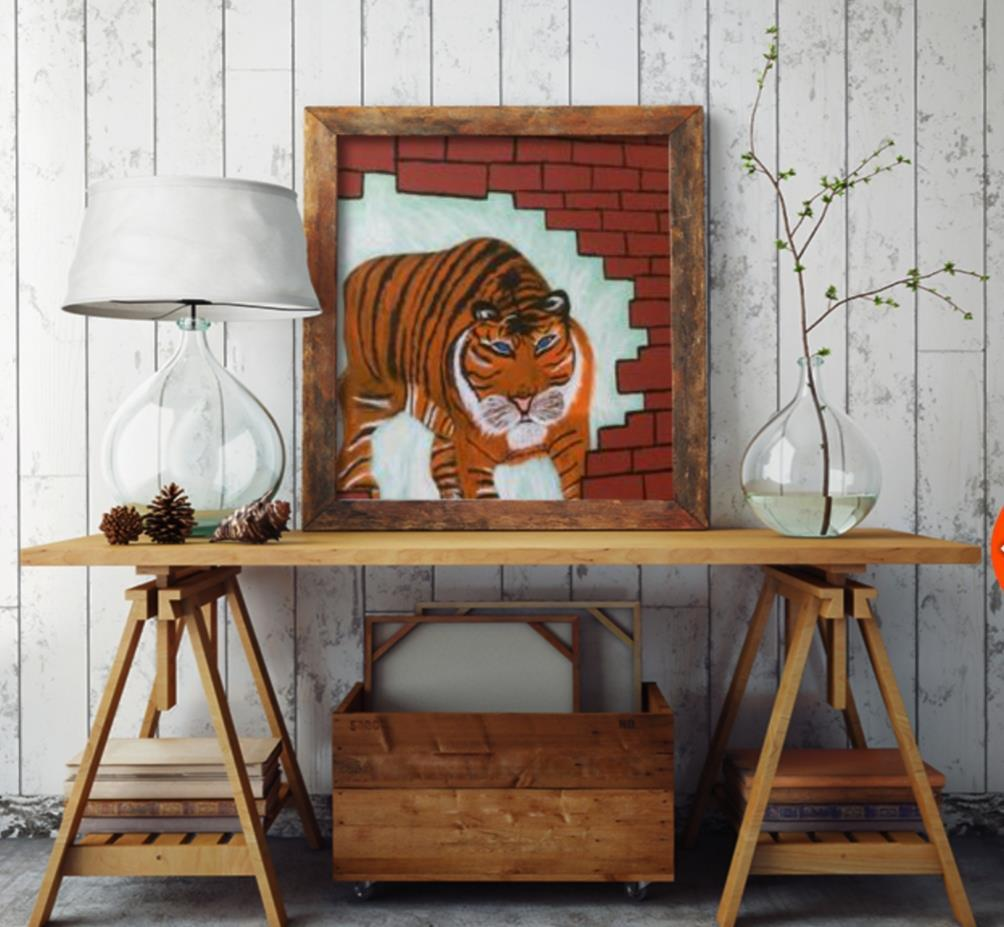 Originalkonst, Tiger 40x40 cm