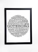 Poster 30x40 cm i ram, Göteborg, vit/svart text