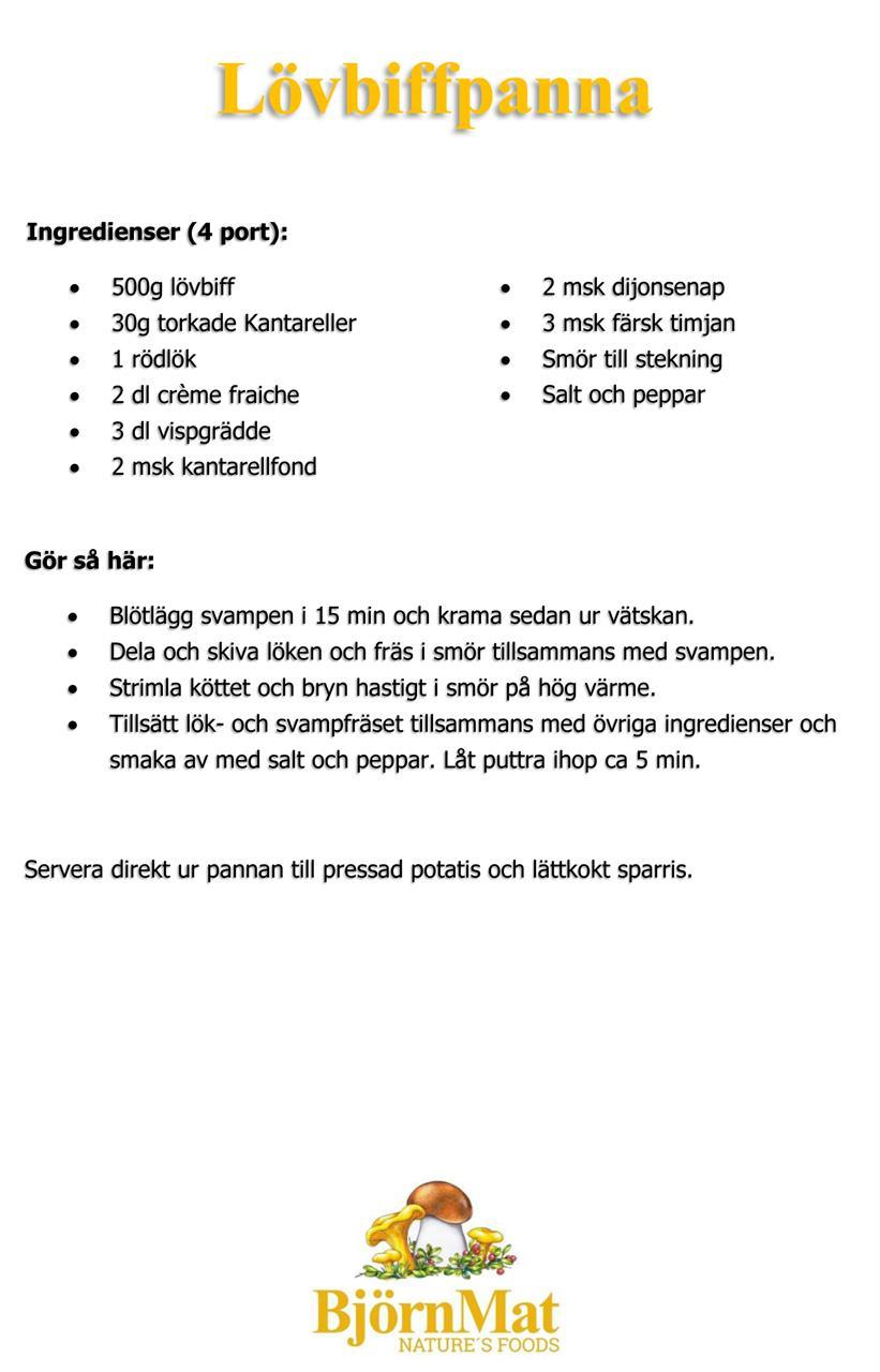Recept - Lövbiffpanna med svamp!