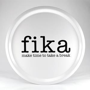 Bricka rund 31 cm, Make time FIKA, vit/svart text