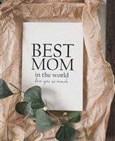Trätavla A4, Best mom, vit/svart text