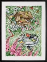 Tavla Fåglar i trädgården linne
