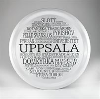 Bricka rund 31 cm, Uppsala, vit/svart text