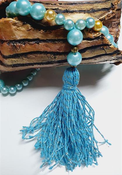 Halsband med tofs /blå