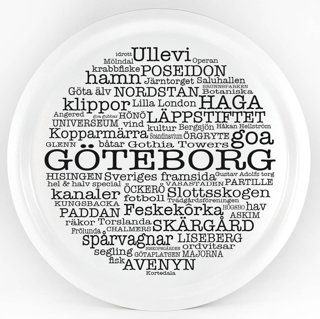 Bricka rund 31 cm, Göteborg, vit/svart text
