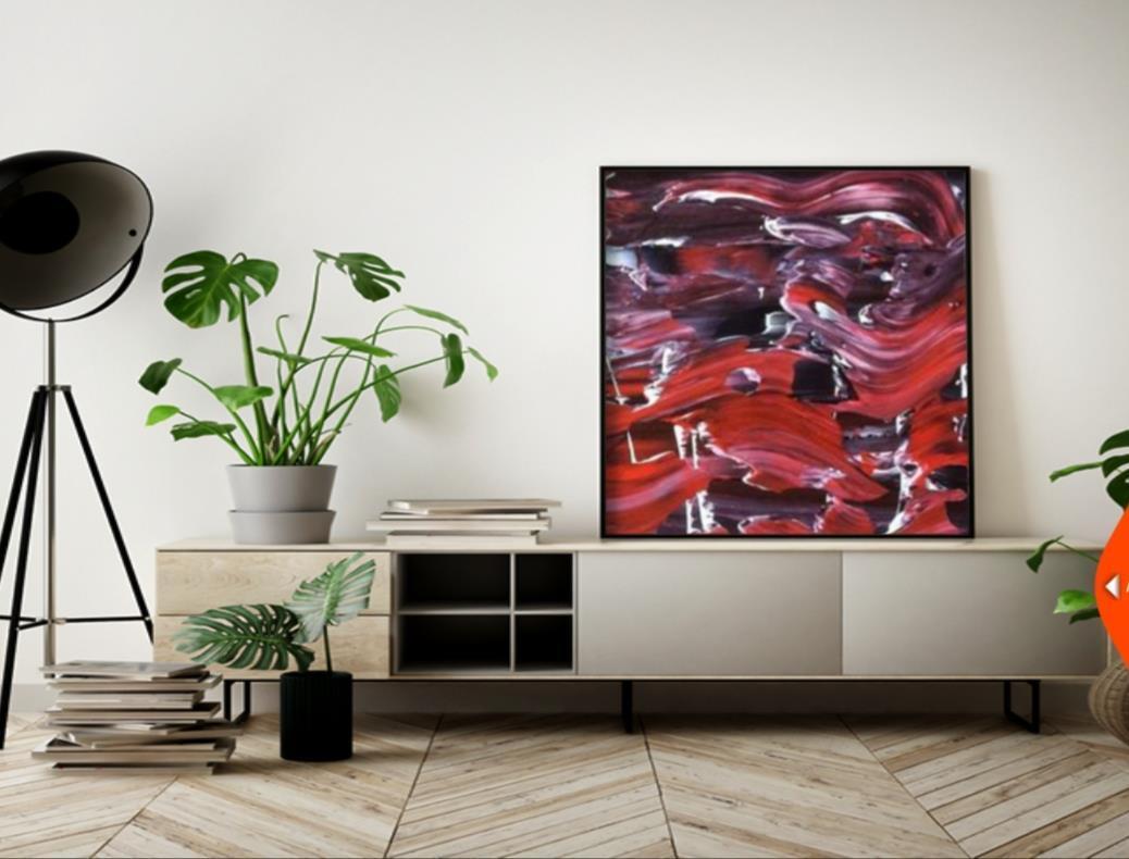 Originalkonst, Montain 1, röd, 55x46 cm
