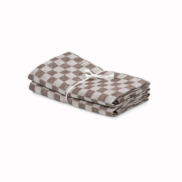 Handduk Schack brun-vit