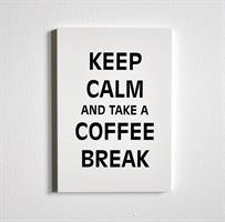 Trätavla A4, Keep calm...coffee, vit/svart text