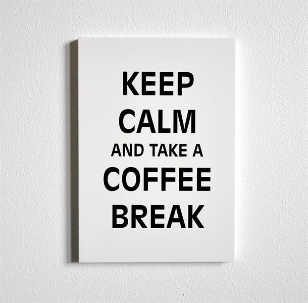 Trätavla A5, Keep calm...coffee, vit/svart text