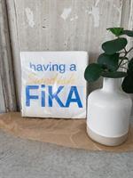 Servetter, Swedish Fika, vit/blå-gul text, 20-p