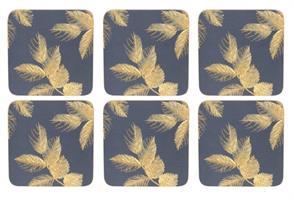 S. Miller etched leaves glassbrikker 6 stk grå