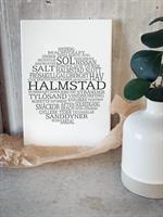Trätavla A4, Halmstad, vit/svart text