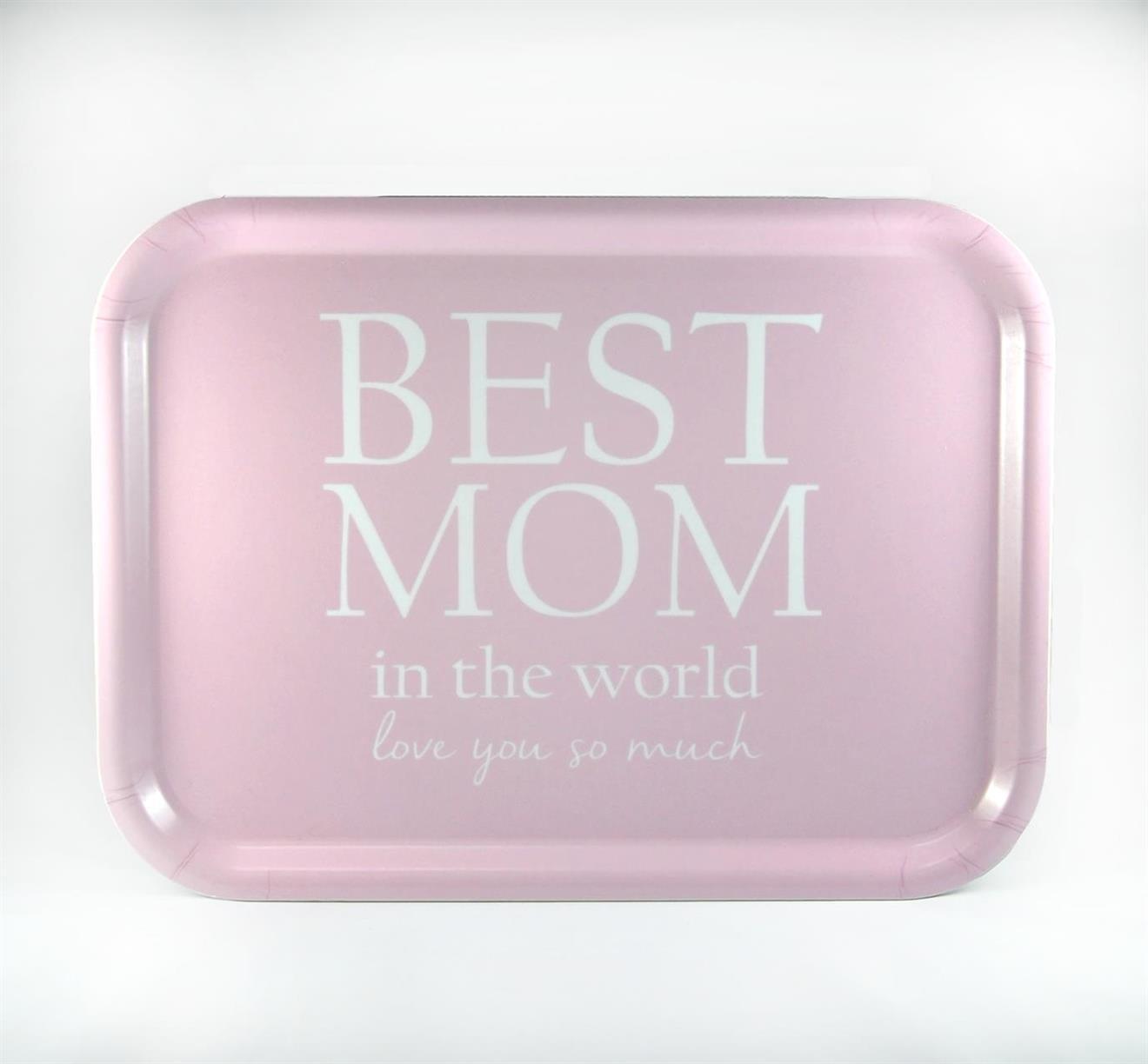 Bricka 27x20 cm, Best Mom, rosa/vit text