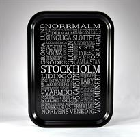 Bricka 27x20 cm, Stockholm, svart/vit text