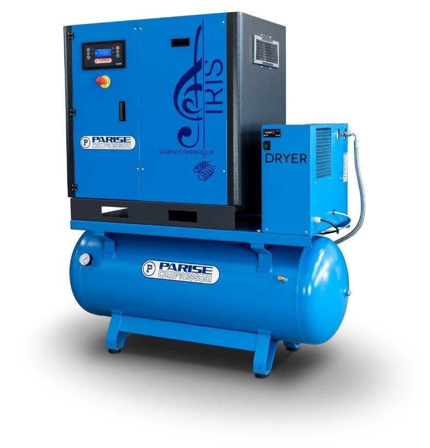 PARISE Ruuvikompressori 7,5 Kw, 1050L/min, 8bar, säiliöllä ja kuivaimella MLX10S500-D-08