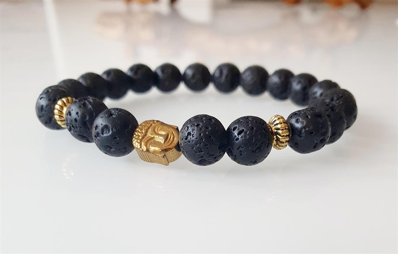 Armband Herr Lava sten och Buddha