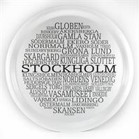 Bricka rund 31 cm, Stockholm, vit/svart text