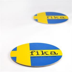 Glasunderlägg 4-p, Make time Fika, svenska flaggan
