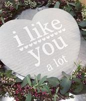 Disktrasa-hjärta, I like you, grå/svart text