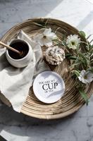 Glasunderlägg kant, Cup of tea, vit/svart text