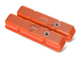 SBC HOLLEY VALVE COVERS,FINNED,W/EMIS