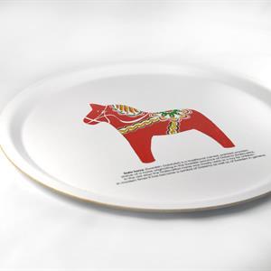 Bricka rund 31 cm, Dala horse, vit/rött tryck