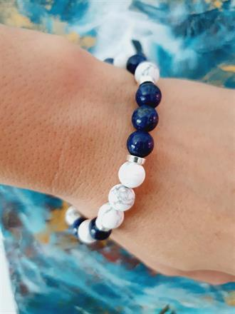 yogasmycken /stenar Lapis lazuli -blå vit