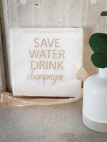 Servetter, Save water, vit/guldtext, 20-p