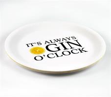 Glasunderlägg kant, Gin o'clock, vit/svart-gul
