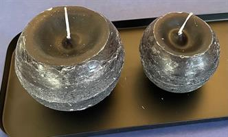 Støpt kulelys sort, 10 cm