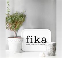 Bricka 27x20 cm, Make time FIKA, vit/svart text