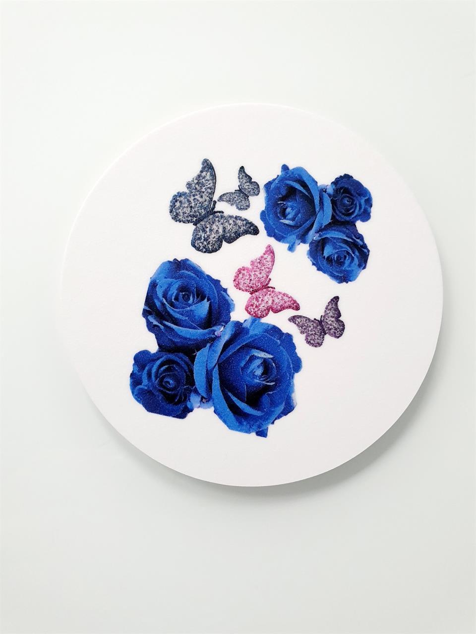 Glasunderlägg rosor och fjäril 9 cm