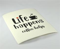 Disktrasa, Life happens, vit/svart text