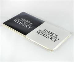 Glasunderlägg 4-p, Whisky,svart-vit/vit-svart text