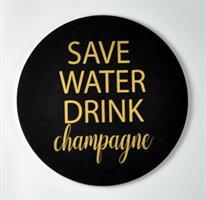 Glasunderlägg 4-p, Save water, svart/guldtext