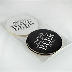 Glasunderlägg 4-p, Beer, svart-vita/vit-svart text