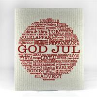 Disktrasa, God Jul-ord, grå/röd text
