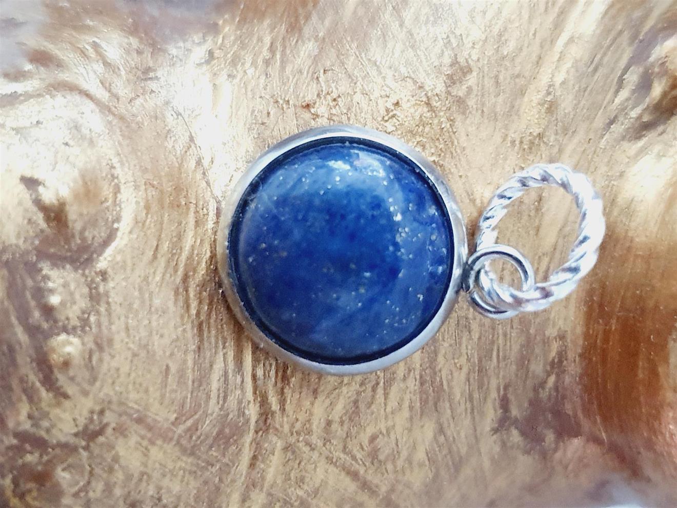 Hänge halsband Lapiz lazuli -blå rund