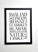 Poster 30x40 cm i ram, Småland, vit/svart text