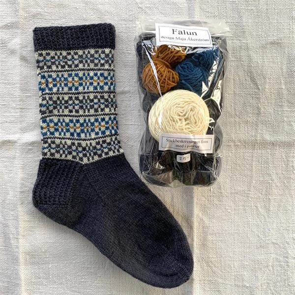"""Falun"" sockpaket Grafit - Blå"