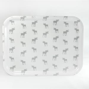 Bricka 27x20 cm, Många älgar, vit/grå text