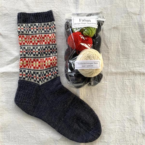 """Falun"" sockpaket Grafit - Röd"