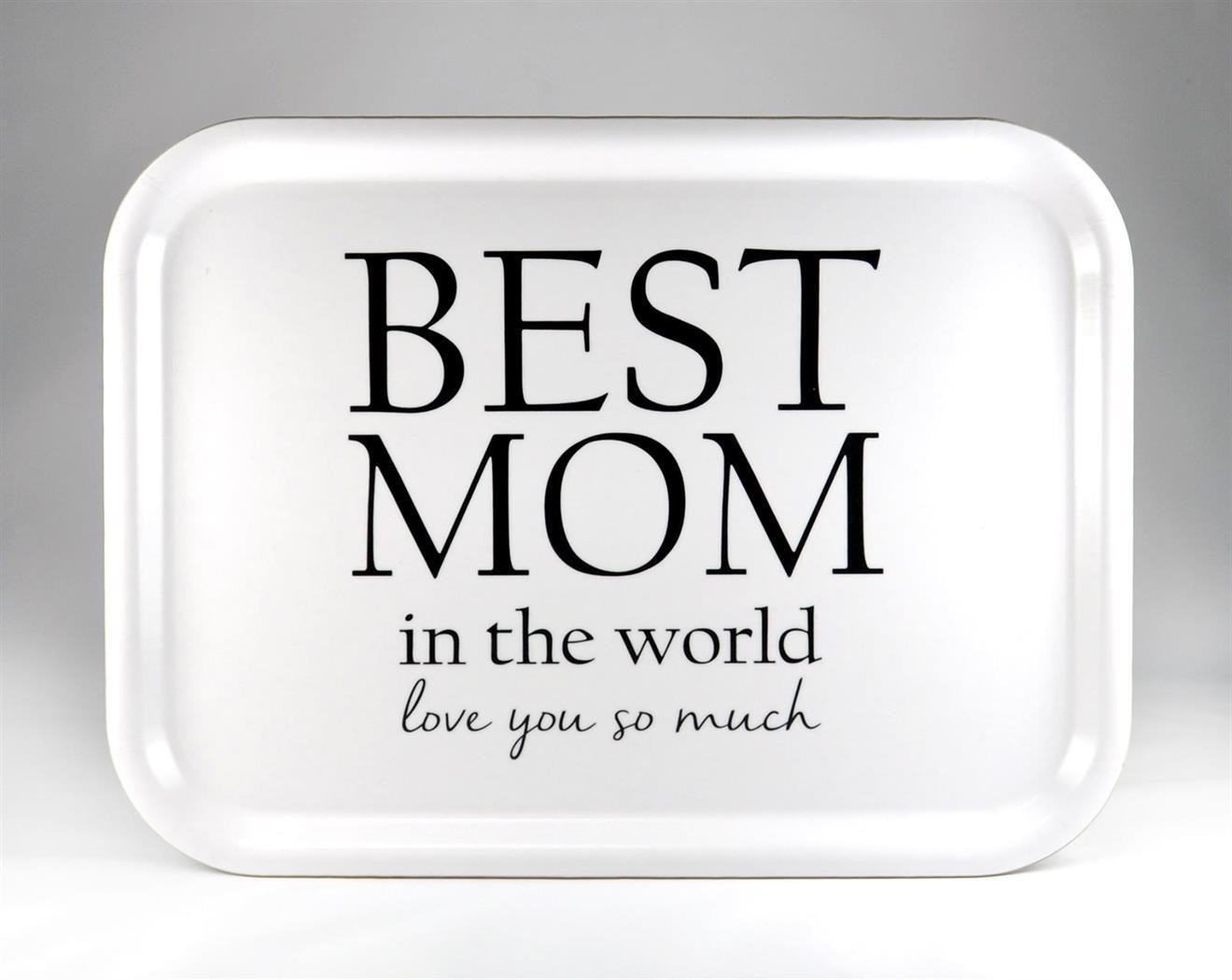 Bricka 27x20 cm, Best Mom, vit/svart text