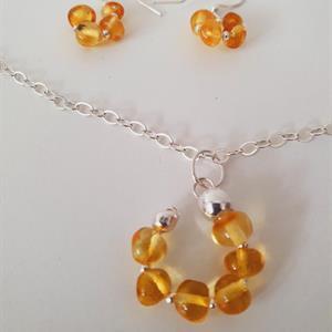 Smyckeset bärnsten sterling silver/örhänge -hänge
