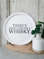 Bricka rund 31 cm, Whisky, vit/svart text