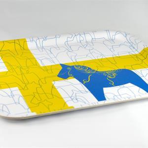 Bricka 27x20 cm, Dala horse-design, vit/blå-gul
