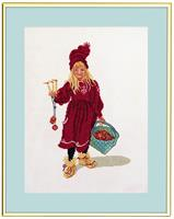 Flicka med äpplekorg
